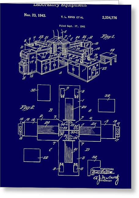 Equipment Drawings Greeting Cards - Laboratory Equipment Patent 1943 Greeting Card by Mountain Dreams