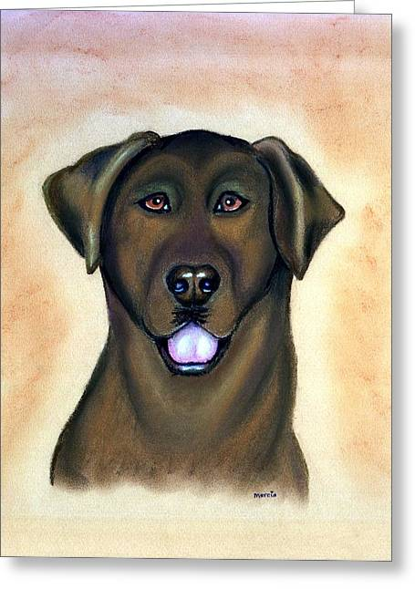 Labradors Pastels Greeting Cards - Labrador Retriever Chocolate Greeting Card by Olde Time  Mercantile