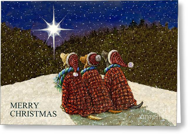 Chocolate Lab Mixed Media Greeting Cards - Labs Under the Christmas Star Greeting Card by Kathleen Harte Gilsenan