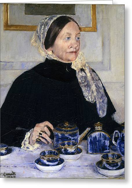 African-american Paintings Greeting Cards - Lady At The Tea Table Greeting Card by Mary Cassatt