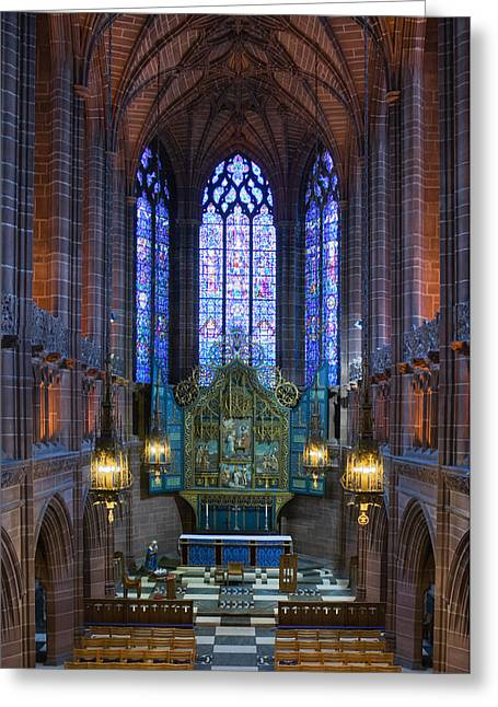 Medieval Temple Greeting Cards - Lady Chapel inside Liverpool Cathedral Greeting Card by Ken Biggs