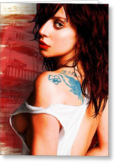 Fame Mixed Media Greeting Cards - Lady Gaga Blue Tattoo Greeting Card by Tony Rubino