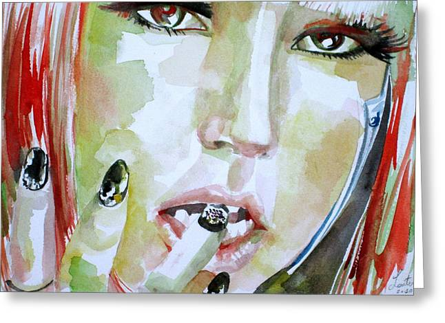 Lady Gaga Paintings Greeting Cards - LADY GAGA - watercolor portrait.1 Greeting Card by Fabrizio Cassetta