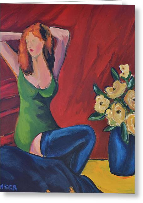 Vase With Figures Greeting Cards - Lady in green with blue stockings Greeting Card by Scott Bowlinger