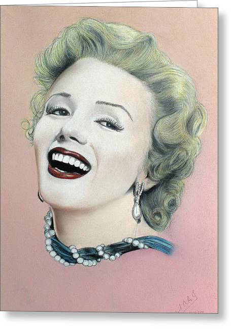 Lady In Pink Finished Greeting Card by Miguel Rodriguez