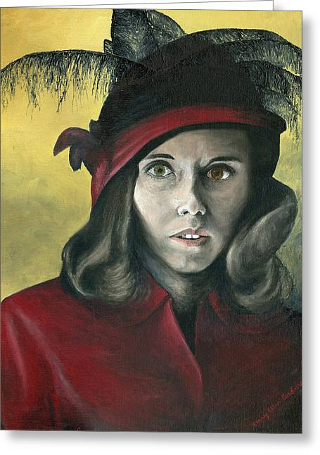 Lady In Red Greeting Card by Mary Ellen Anderson