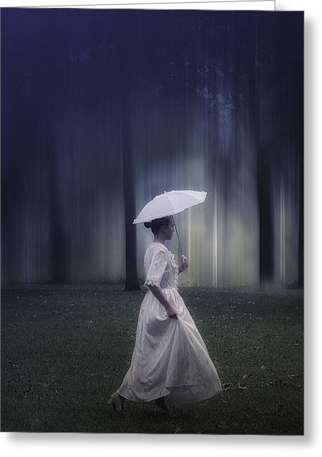 Pensive Greeting Cards - Lady In The Woods Greeting Card by Joana Kruse