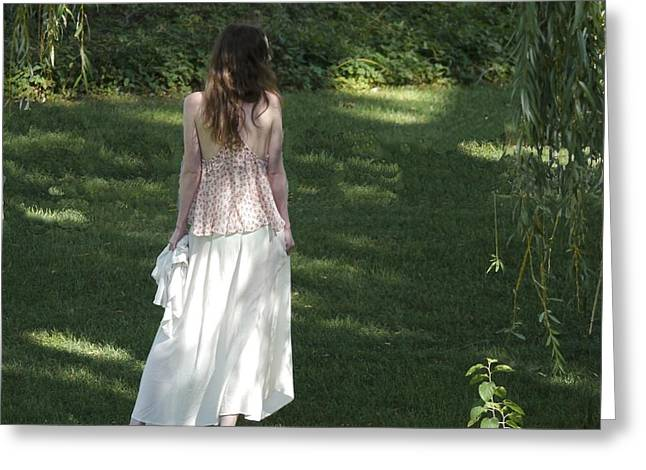 Dappled Light Greeting Cards - Lady in White Greeting Card by Gaynell Foster