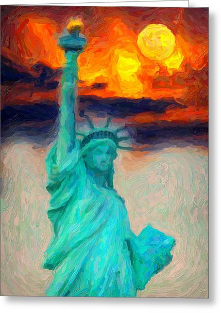 Historical Buildings Greeting Cards - Lady Liberty Greeting Card by Celestial Images
