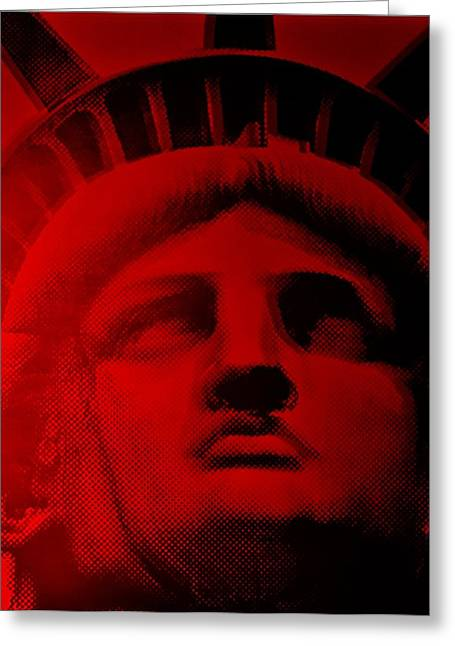 Statue Portrait Greeting Cards - LADY LIBERTY in RED Greeting Card by Rob Hans