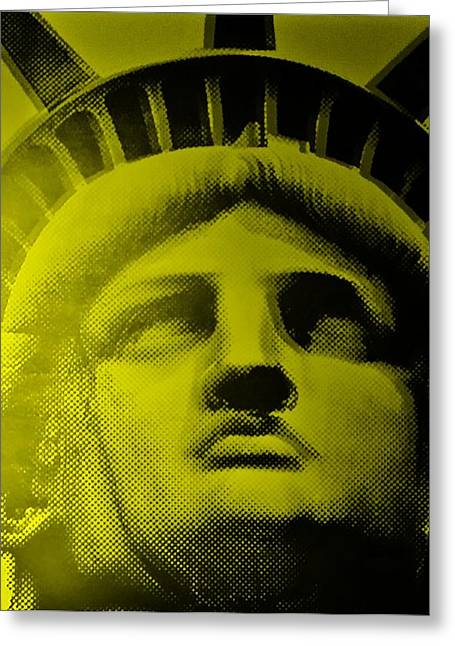 Statue Portrait Greeting Cards - LADY LIBERTY in YELLOW Greeting Card by Rob Hans