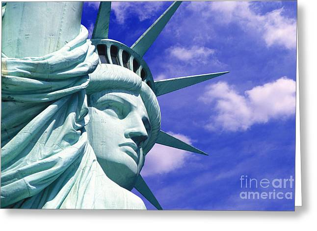 City Buildings Mixed Media Greeting Cards - Lady Liberty Greeting Card by Jon Neidert
