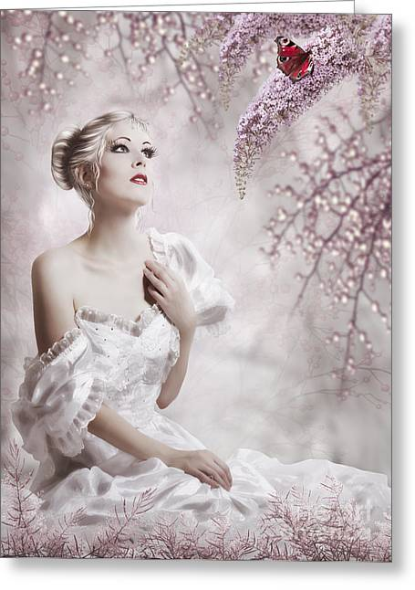 Romance Mixed Media Greeting Cards - Lady Greeting Card by Svetlana Sewell