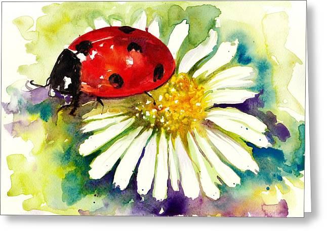 étoiles Greeting Cards - Ladybug in Flowers Greeting Card by Tiberiu Soos