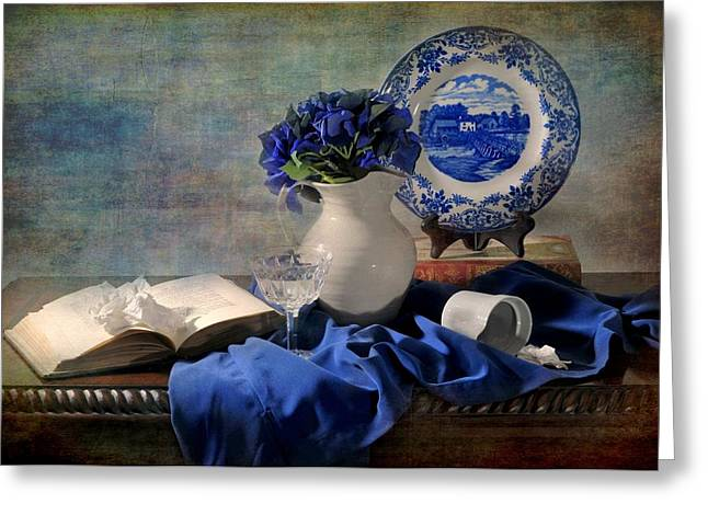 Vase Of Flowers Greeting Cards - Ladys Got the Blues Greeting Card by Diana Angstadt