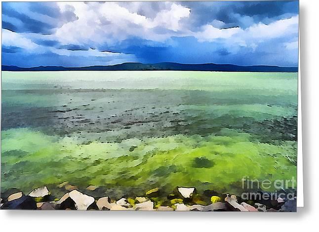 Water Filter Paintings Greeting Cards - Lake Balaton Hungary Greeting Card by Odon Czintos
