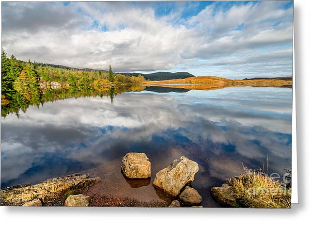 Calm Waters Greeting Cards - Lake Bodgynydd  Greeting Card by Adrian Evans