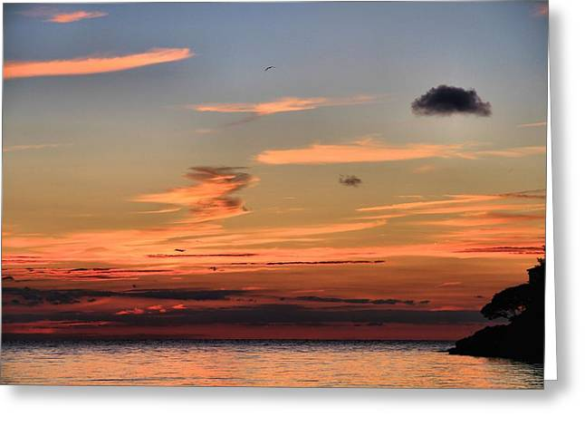 Going Down Greeting Cards - Lake Erie Sunset Greeting Card by Dan Sproul