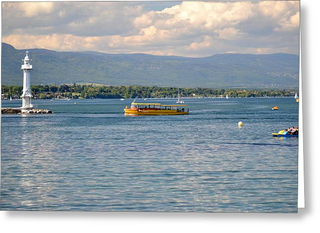 Peaceful Scene Greeting Cards - Lake Geneva and boats Greeting Card by Blanchi Costela