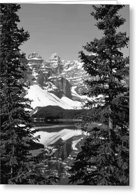 Cold Day Greeting Cards - Lake In Front Of Mountains, Banff Greeting Card by Panoramic Images