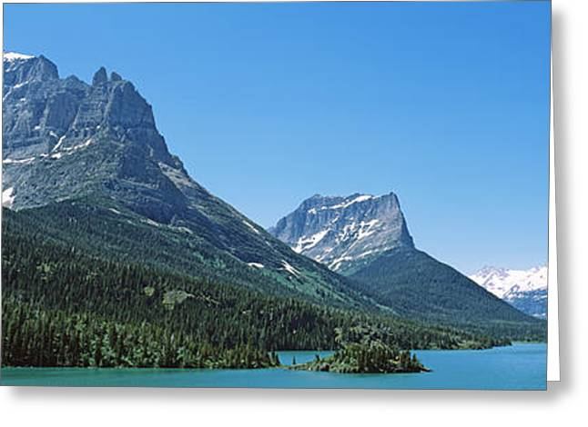 Us Glacier National Park Greeting Cards - Lake In Front Of Mountains, St. Mary Greeting Card by Panoramic Images