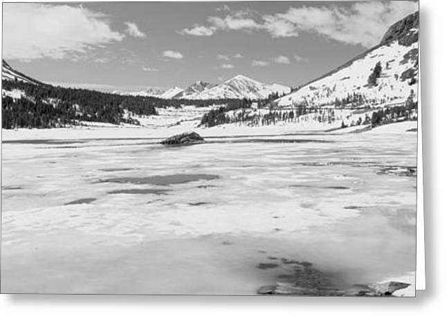 Californian Greeting Cards - Lake In Front Of Snowcapped Mountains Greeting Card by Panoramic Images