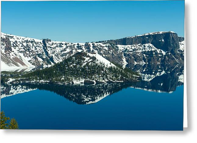 Crater Lake National Park Greeting Cards - Lake In Winter, Crater Lake, Crater Greeting Card by Panoramic Images