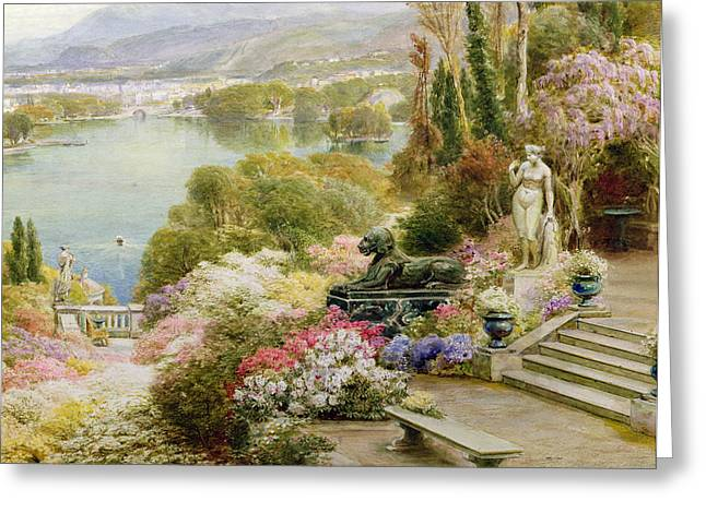 Chateau Greeting Cards - Lake Maggiore Greeting Card by Ebenezer Wake-Cook