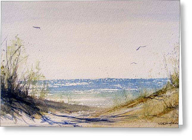 Sand Dunes Paintings Greeting Cards - Lake Michigan Dune Greeting Card by Sandra Strohschein