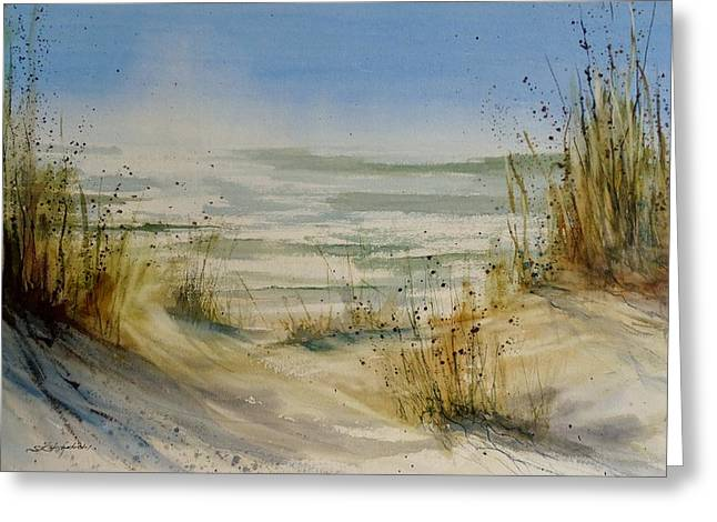 Sand Dunes Paintings Greeting Cards - Lake Michigan Greeting Card by Sandra Strohschein