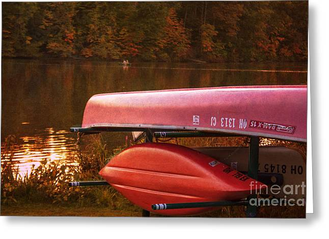 Wooden Platform Greeting Cards - Lake Newport Kayaks Greeting Card by Janice Rae Pariza