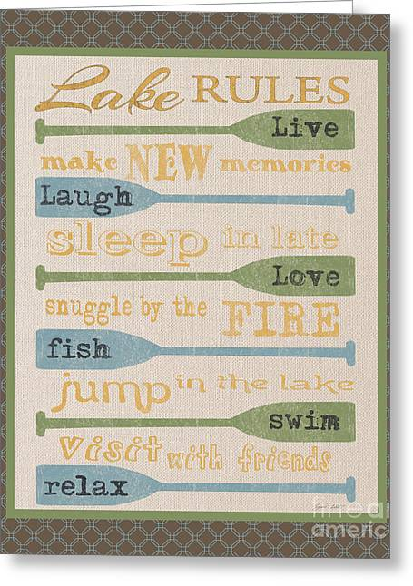 Flour Sack Greeting Cards - Lake Rules-F Greeting Card by Jean Plout