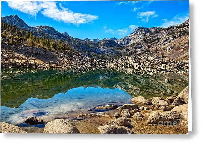 Dry Lake Greeting Cards - Lake Sabrina in Bishop Creek Canyon. Greeting Card by Jamie Pham