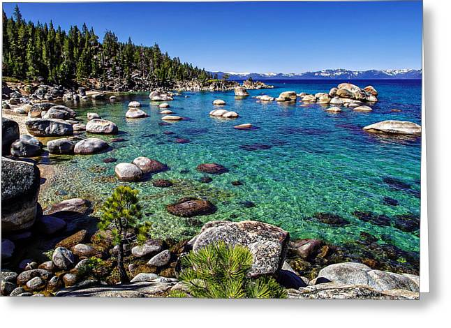 Blue Green Water Photographs Greeting Cards - Lake Tahoe Waterscape Greeting Card by Scott McGuire