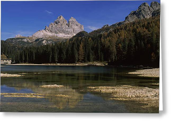 Reflections Of Sky In Water Greeting Cards - Lake With A Mountain Range Greeting Card by Panoramic Images