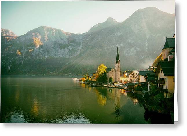 Hallstatt Greeting Cards - Lakeside in Austria Greeting Card by Mountain Dreams