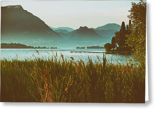Docked Sailboats Photographs Greeting Cards - Lakeside in Spain Greeting Card by Mountain Dreams