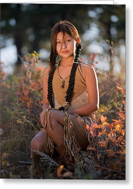 Ina Greeting Cards - Lakota Maiden Greeting Card by Christian Heeb