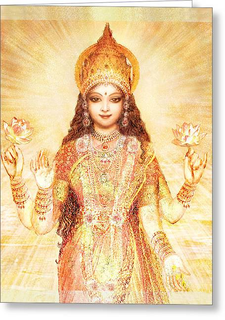 Recently Sold -  - Hindu Goddess Greeting Cards - Lakshmi the Goddess of Fortune and Abundance Greeting Card by Ananda Vdovic