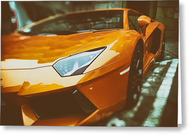 Powerful Car Greeting Cards - Lamborghini  Greeting Card by Mountain Dreams