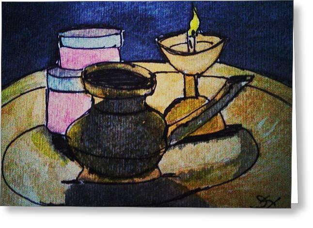 Water Jars Paintings Greeting Cards - Lamp Greeting Card by Vineeth Menon