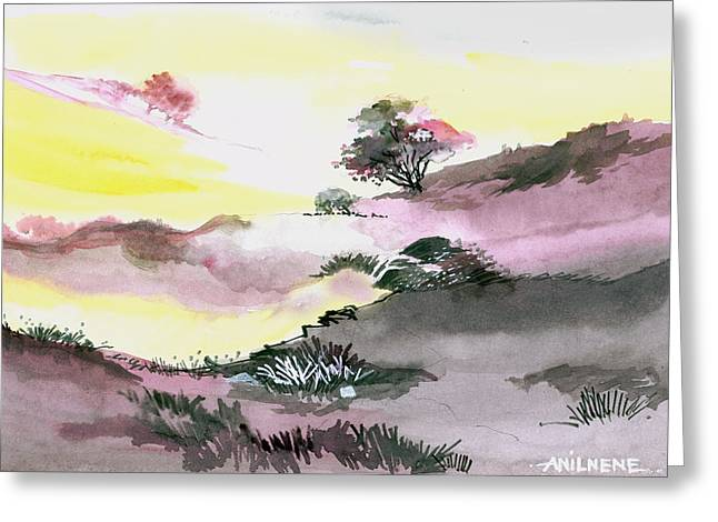 Summer Scene Drawings Greeting Cards - Landscape 1 Greeting Card by Anil Nene