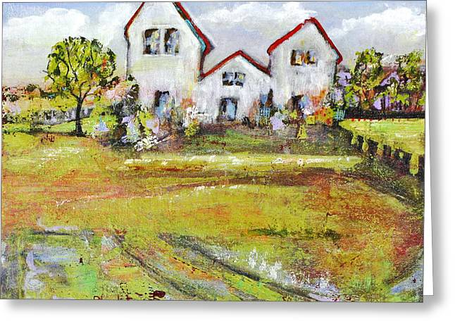 Stylish Paintings Greeting Cards - Landscape Art Scenic Fields Greeting Card by Blenda Studio