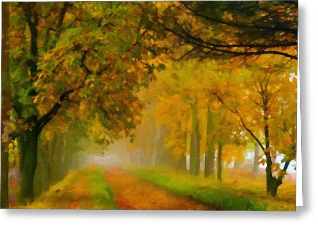 Landscape Framed Prints Greeting Cards - Landscape Art Greeting Card by Victor Gladkiy