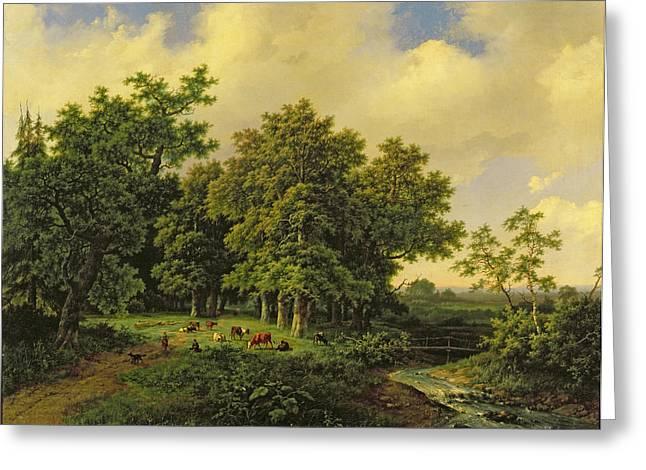 Stream Greeting Cards - Landscape Greeting Card by Barend Cornelis Koekkoek