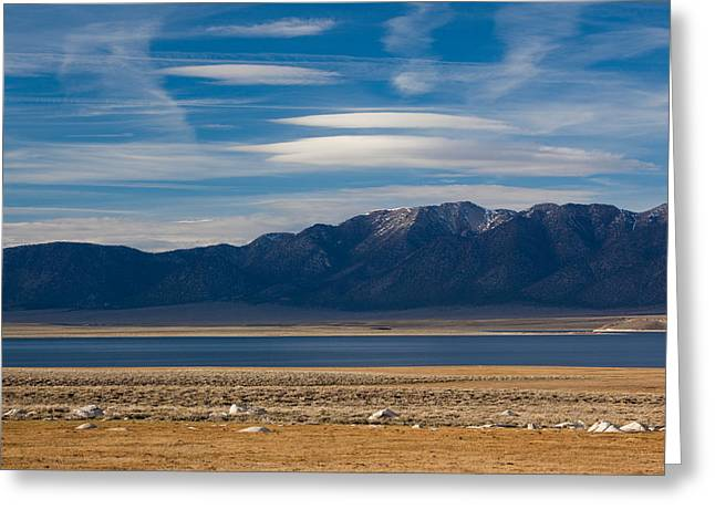 Californian Greeting Cards - Landscape By A Lake Crowley With White Greeting Card by Panoramic Images