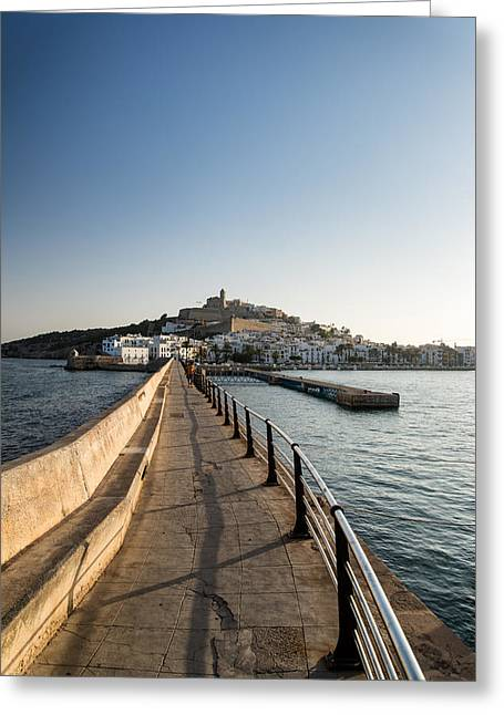 Ibiza Greeting Cards - Landscape of Ibiza Old Town late Summer afternoon Greeting Card by Matthew Gibson