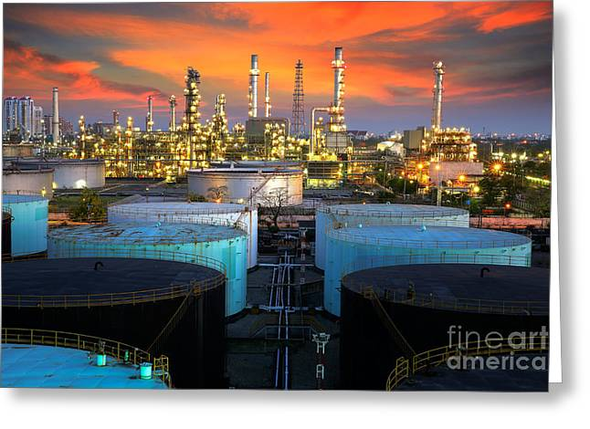 Power Plants Greeting Cards - Landscape of oil refinery industry  Greeting Card by Anek Suwannaphoom