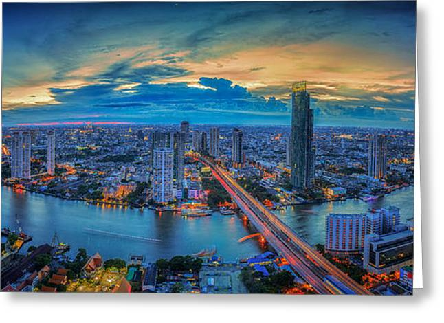 Office Space Greeting Cards - Landscape of River in Bangkok city Greeting Card by Anek Suwannaphoom
