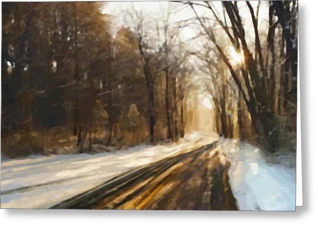 Landscape Framed Prints Greeting Cards - Landscape painting Greeting Card by Victor Gladkiy